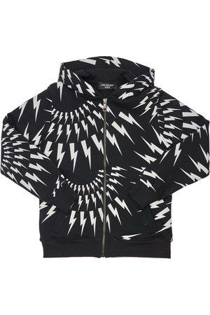 Neil Barrett Boys Hoodies - Thunder Zip-up Cotton Sweatshirt Hoodie