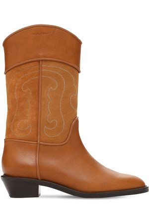 See by Chloé Women Cowboy Boots - 35mm Dany Leather & Suede Western Boots