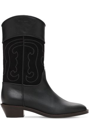 See by Chloé 35mm Dany Leather & Suede Western Boots