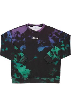 Msgm Boys Sweatshirts - Tie & Dye Print Cotton Sweatshirt