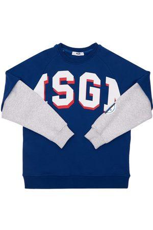 Msgm Boys Sweatshirts - Logo Print Cotton Sweatshirt
