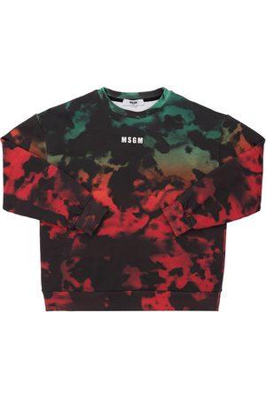 Msgm Tie & Dye Print Cotton Sweatshirt
