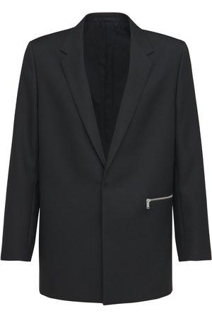 JIL SANDER Slim Wool Serge Blazer W/zip Detail