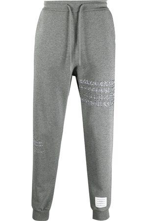 Thom Browne Men Sweatpants - RWB embroidered stripe track pants - Grey