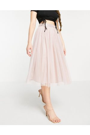 Maya Tulle midi skirt set with slit in frosted