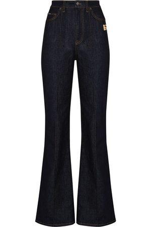 Dolce & Gabbana Women Bootcut - Logo plaque high-waisted flared jeans