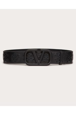 VALENTINO GARAVANI Vlogo Signature Belt In Calfskin With San Gallo Embroidery 40 Mm Women 100% Pelle Di Vitello - Bos Taurus 65