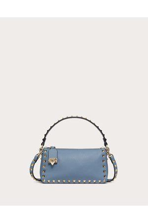VALENTINO GARAVANI Small Rockstud Grainy Calfskin Crossbody Bag Women Azure 100% Pelle Di Vitello - Bos Taurus OneSize
