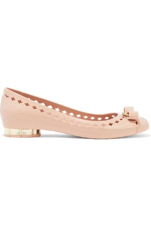 SALVATORE FERRAGAMO Woman Jelly Bow-embellished Laser-cut Rubber Ballet Flats Blush Size 10