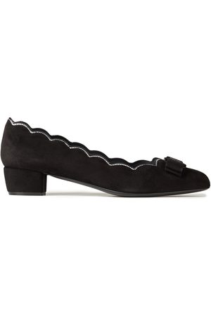 Salvatore Ferragamo Woman Vara Bow-embellished Scalloped Suede Pumps Size 6