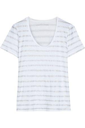 MAJESTIC FILATURES Woman Metallic Striped Slub Stretch-linen Jersey T-shirt Size 1