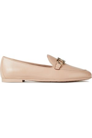SALVATORE FERRAGAMO Woman Trifoglio Embellished Leather Loafers Blush Size 10