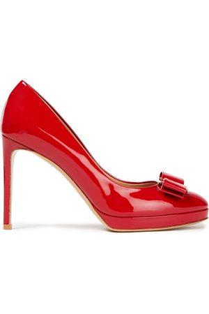 Salvatore Ferragamo Women Platform Pumps - Woman Osimo Bow-embellished Patent-leather Platform Pumps Size 4.5