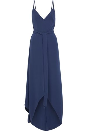 VALENTINO Woman Asymmetric Belted Silk-crepe Gown Navy Size 10
