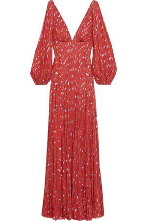 J.MENDEL Woman Gathered Metallic Fil Coupé Silk-blend Chiffon Gown Size 6