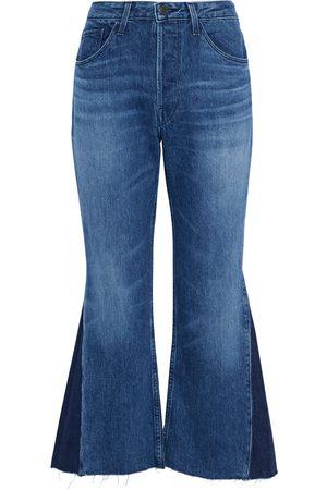 3x1 Woman W3 Higher Ground Two-tone High-rise Kick-flare Jeans Dark Denim Size 25