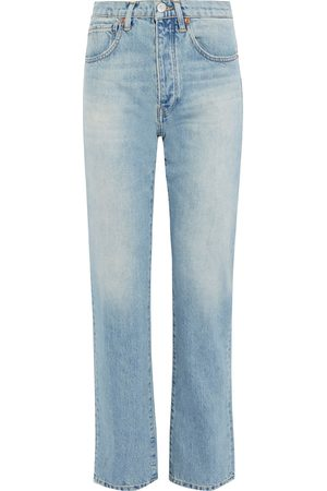3X1 Woman Sabina Distressed High-rise Straight-leg Jeans Light Denim Size 24