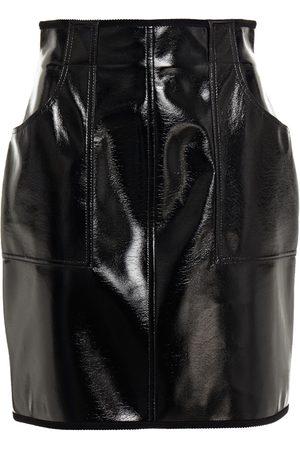 Serafini Women Mini Skirts - Woman Corduroy-trimmed Faux Glossed-leather Mini Skirt Size 38