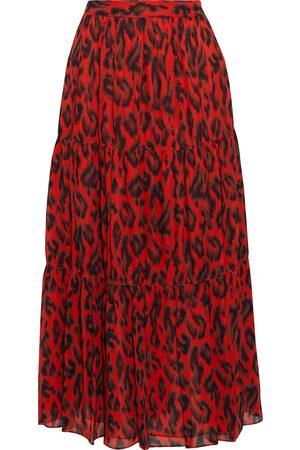 DEREK LAM 10 CROSBY Woman Tiered Leopard-print Georgette Midi Skirt Size 2