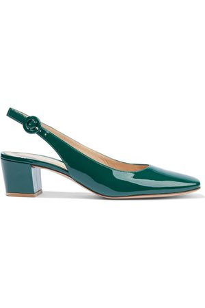 Gianvito Rossi Woman Tish 45 Patent-leather Slingback Pumps Emerald Size 34.5
