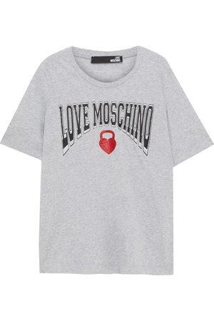 Love Moschino Woman Glittered Printed Cotton-jersey T-shirt Light Size 38