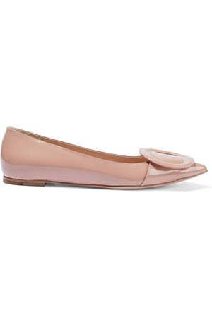 Gianvito Rossi Woman Ruby Buckle-embellished Patent-leather Point-toe Flats Antique Rose Size 34