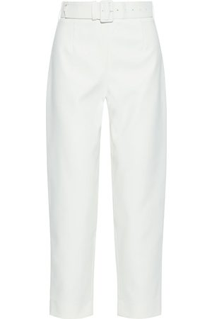 SOLACE LONDON Woman Tansy Cropped Belted Crepe Straight-leg Pants Size 10