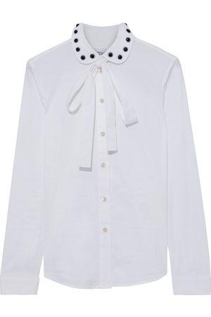 REDVALENTINO Woman Pussy-bow Studded Cotton-blend Poplin Shirt Size 38