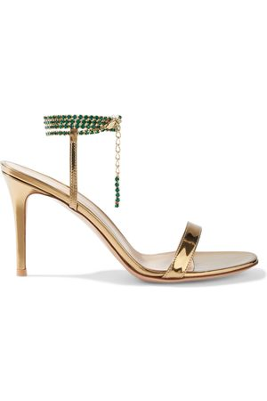Gianvito Rossi Woman Serena 85 Crystal-embellished Mirrored-leather Sandals Size 38.5