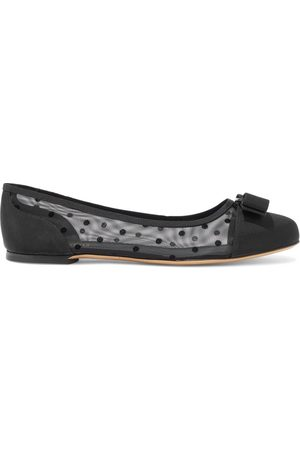 SALVATORE FERRAGAMO Woman Varina Dots Bow-embellished Faille And Flocked Mesh Ballet Flats Size 4