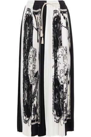 SALVATORE FERRAGAMO Woman Leather-trimmed Printed Plissé Satin-twill Midi Skirt Off- Size 42