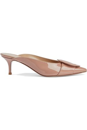 GIANVITO ROSSI Woman Ruby 55 Buckle-embellished Patent-leather Mules Antique Rose Size 34