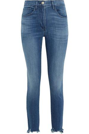 3X1 Woman W3 Skinny Crop Distressed Mid-rise Skinny Jeans Mid Denim Size 26