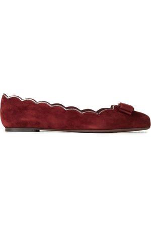 Salvatore Ferragamo Woman Varina Bow-embellished Scalloped Suede Ballet Flats Merlot Size 7