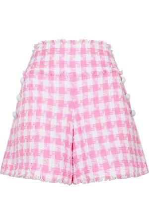 Balmain Pink checked tweed shorts