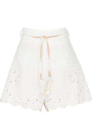 Zimmermann Nina embroidered linen shorts