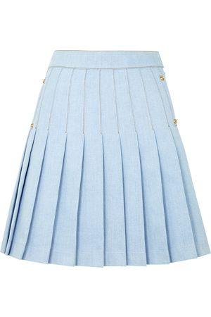Balmain Light blue pleated denim mini skirt