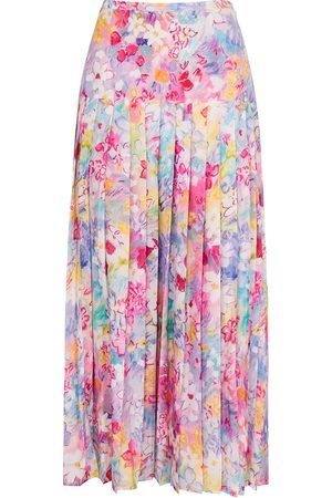 RIXO Tina printed pleated cotton-blend midi skirt