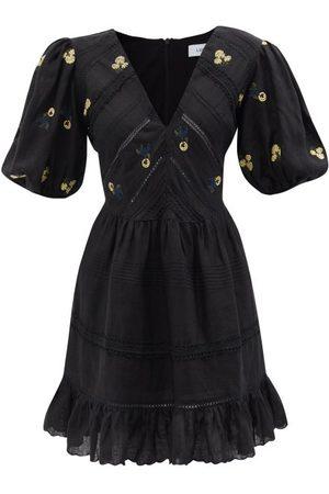 LUG VON SIGA Emma Floral-embroidered Linen Mini Dress - Womens
