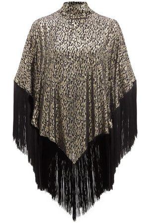 Taller Marmo Gloria Fringed Metallic-jacquard Kaftan Mini Dress - Womens
