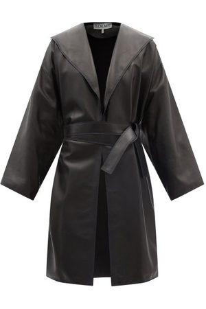 Loewe Women Leather Jackets - Shawl-collar Leather Coat - Womens - Navy