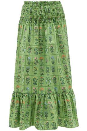 Rhode Artie Shirred Floral-print Cotton Midi Skirt - Womens