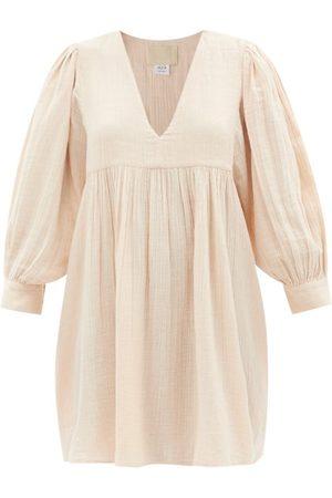 Anaak Ajmer V-neck Cotton-muslin Mini Dress - Womens - Light