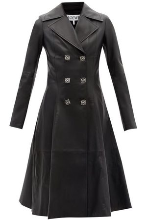 Loewe Double-breasted Anagram Leather Coat - Womens