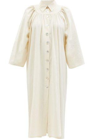 Les Vacances D'irina Bigger Splash Gathered Cotton-muslin Midi-dress - Womens - Ivory