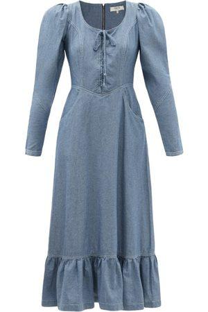 SEA Alyssa Lace-up Denim Midi Dress - Womens - Mid Denim