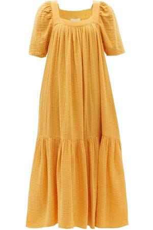 Anaak Khimsar Square-neck Crinkled-cotton Maxi Dress - Womens