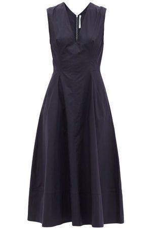 Another Tomorrow V-neck Organic-cotton Poplin Midi Dress - Womens - Navy