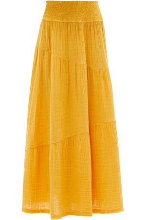 Anaak Pushkar Shirred-waist Cotton-gauze Midi Skirt - Womens