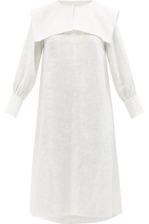 Les Vacances D'irina Ischia Sailor-collar Linen Midi Dress - Womens